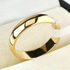 New 8MM Men Women Ring Gold Stainless Steel Sz8,9